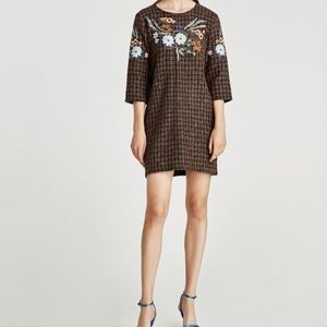 Zara woven checkered dress with embroidery design